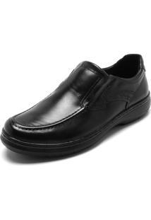 Sapato Social Couro Pegada Recortes Preto