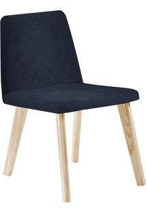 Cadeira Piqui F54-1 Veludo – Daf Mobiliário - Azul Marinho