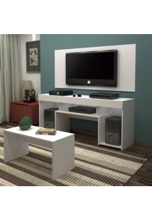 Rack Com Mesa Embutida E Painel Para Tv Até 55 Polegadas Ravena Siena Móveis Branco