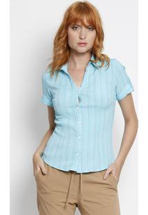 Camisa Texturizada Listrada- Azul Claro- Intensintens