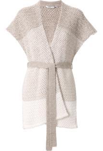Agnona Chunky Knit Shortsleeved Cardigan - Cinza