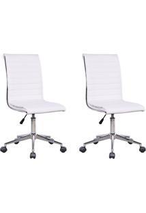 Conjunto Com 2 Cadeiras De Escritório Diretor Giratórias Marilyn Branco