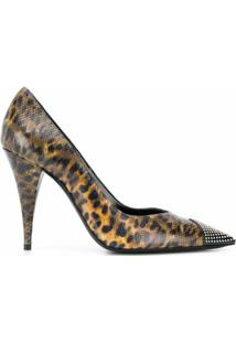 Saint Laurent Scarpin Animal Print Com Tachas - Marrom