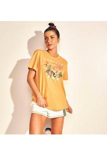 Camiseta Colcci Floral Feminina - Feminino-Laranja