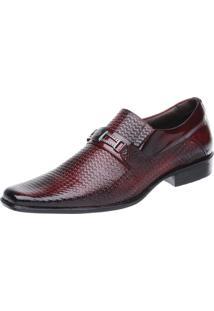 Sapato Social Malbork Em Couro Verniz Dark Red Vermelho/Preto