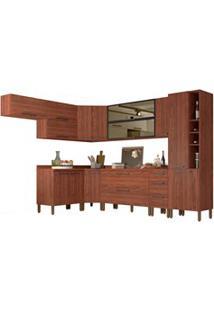 Cozinha Modulada Completa 14 Peças Viv Concept C10 Nogueira/Black - Ki