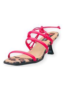 Sandalia Salto Taça Love Shoes 3 Tiras Amarração Onça Pink