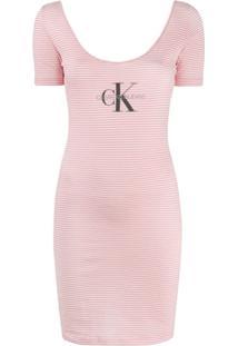 Calvin Klein Jeans Striped Logo-Print Dress - Rosa