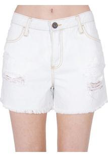 Shorts Jeans Destroyed Cantão - Feminino-Azul