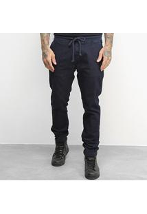 Calça Jeans Jogger Kvra Brand Linha Premium Masculina - Masculino-Marinho