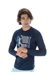 Camiseta Manga Longa Fatal Estampada 22239 - Masculina - Azul Escuro