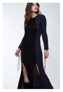 Vestido Tr Fenda Ilhós Preto/Azul Tuna
