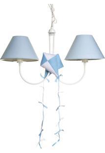 Lustre 2L Simples Com 2 Pipas Quarto Bebê Infantil Menino Potinho De Mel Azul
