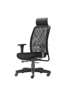 Cadeira Soul Presidente Com Encosto De Cabeca Assento Crepe Preto Base Metalica Com Capa - 54224 Preto