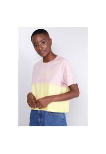 Blusa T-Shirt Tie Dye Rosa/Amarelo Gang Feminina