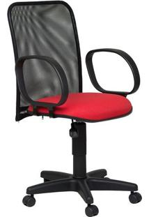 Cadeira Diretor Tela Giratória Corsa Tecido Vermelho