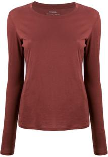 Vince Long-Sleeve Fitted Top - Marrom