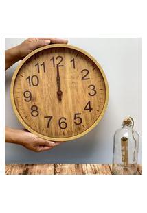 Relógio De Parede Redondo Decorativo Lyor Plástico Wood Marrom