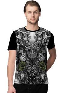 Camiseta Stompy Faces Masculino - Masculino-Branco+Preto