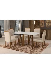 Conjunto De Mesa De Jantar Com 6 Cadeiras E Tampo De Madeira Maciça Espanha I Suede Creme E Off White