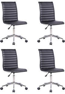 Conjunto Com 4 Cadeiras De Escritório Secretária Giratórias Marilyn Preto