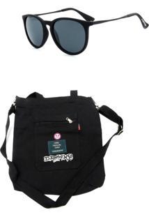 Kit Bolsa Sacola Prorider Dark Face Preta Com Óculos De Sol Preto - Kitdkfpt1