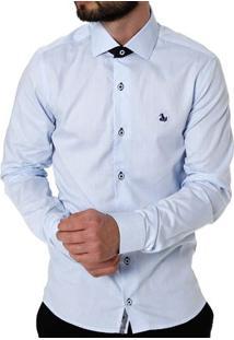 Camisa Slim Manga Longa Masculina Azul Claro