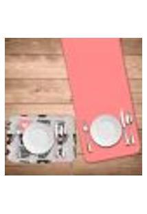 Jogo Americano Com Caminho De Mesa Wevans Love Xícaras Kit Com 4 Pçs + 1 Trilho