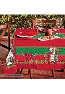 Toalha De Mesa Estampada Natal- Vermelha & Verde- 22Lepper