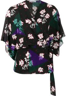 Ps Paul Smith Blusa Com Transpasse E Estampa Floral - Preto