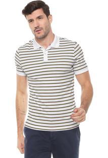 Camisa Polo Banana Republic Luxury-Touch Allover Stripe Branca/Preta