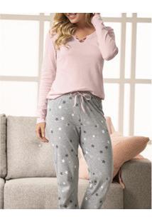 Pijama Longo Mescla Feminino Malwee (1000037375) Algodão
