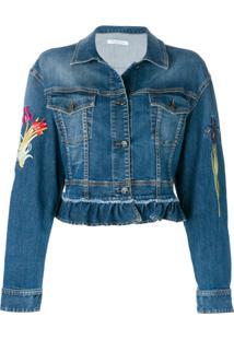 Vivetta Jaqueta Jeans Com Bordado Floral - Azul