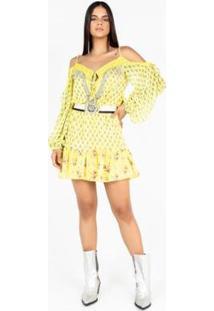 Vestido Estampado Com Decote De Renda E Bordado De - Feminino-Amarelo