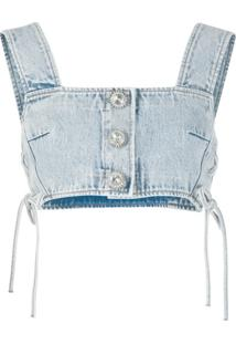 Alessandra Rich Blusa Jeans Cropped - Azul