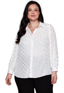 Camisa Almaria Plus Size Pianeta Poá Metalizado Off White/Dourado