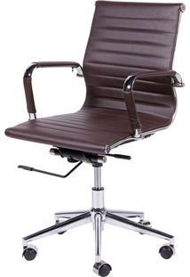 Cadeira Office Eames Esteirinha- Cafã© & Prateada- 10Or Design