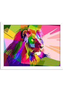 Quadro Decorativo Leão Geométrico Colorido Branco - Médio