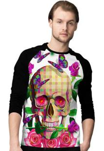 Camiseta Manga Longa Stompy Skull Masculina - Masculino-Preto