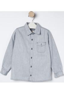 Camisa Jeans Com Bolso- Azul Claro- Bakulelêbakulelê