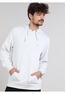 Blusão Masculino Básico Em Moletom Com Capuz Cinza Mescla Claro
