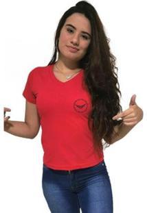 Camiseta Feminina Gola V Cellos Circle Premium - Feminino-Vermelho