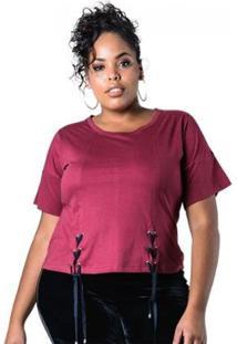 Blusa Plus Size Com Amarração Lenner Plus - Feminino-Vinho