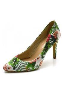 Sapato Scarpin Salto Alto Fino Em Tecido Floral Azaléia
