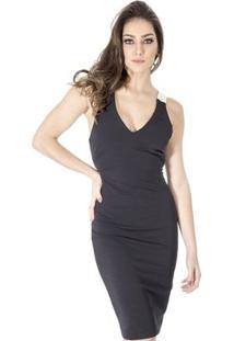 Vestido Alça Couro Calvin Klein - Feminino-Preto