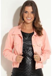 Jaqueta Rosê Com Botões Funcionais