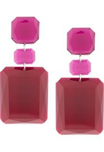 Isabel Marant Square Earrings - Vermelho