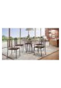 Conjunto De Mesa De Jantar Marrocos Com Tampo Siena E 5 Cadeiras Atos Couríssimo Marrom Escuro