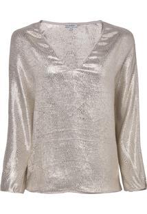 Blusa Le Lis Blanc Lurex Nandy Seda Bege Feminina (Bege Medio C Dourado, 50)