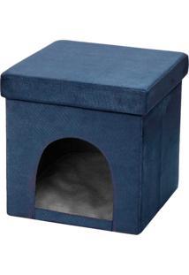 Puff Pet Baú Casinha Desmontável Dobrável Suede Azul Marinho 38X38 - Lyam Decor